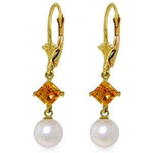 5 Carat 14K Solid Yellow Gold Resolution Citrine Pearl Earrings
