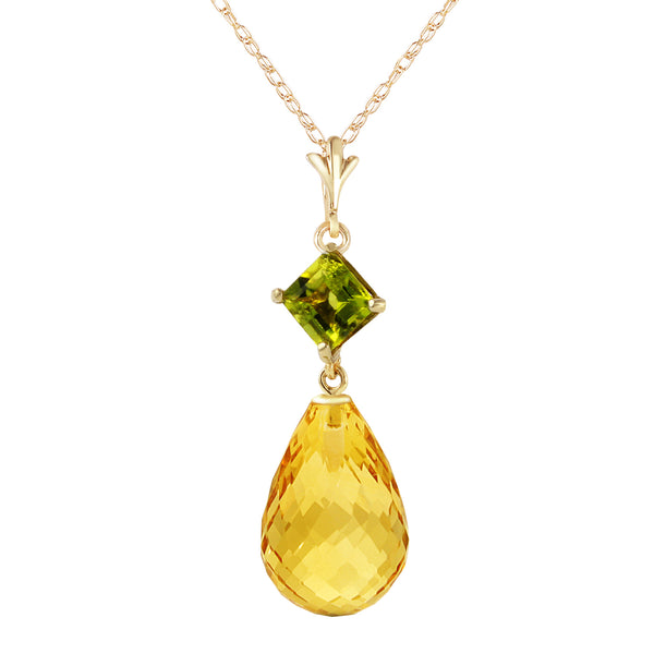 5.5 Carat 14K Gold Forget Not Yet Peridot Citrine Necklace