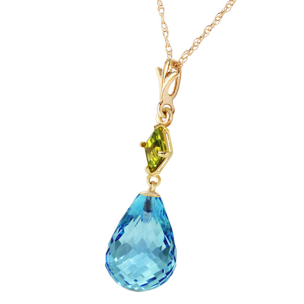 5.5 Carat 14K Gold My Life Is You Peridot Blue Topaz Necklace