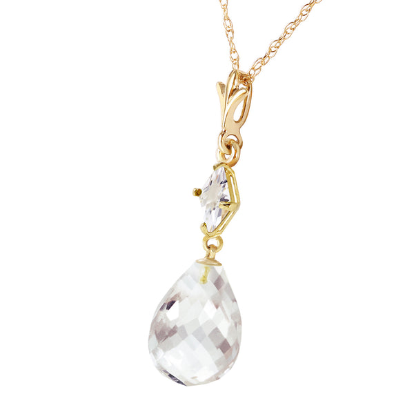 5.5 Carat 14K Solid Yellow Gold Delight In November White Topaz Necklace