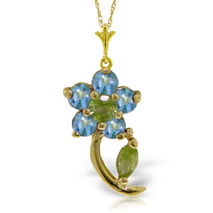 0.87 Carat 14K Solid Yellow Gold Flora Blue Topaz Peridot Necklace