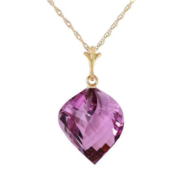 10.75 Carat 14K Gold Necklace Twisted Briolette Amethyst