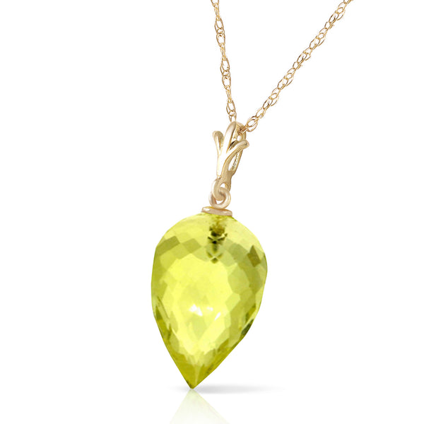 9 Carat 14K Solid Yellow Gold Necklace Pointy Briolette Drop Lemon Quartz