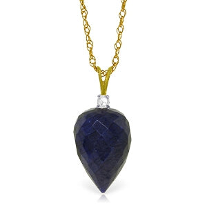 12.95 Carat 14K Solid Yellow Gold Necklace Diamond Briolette Sapphire