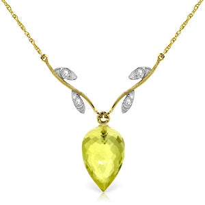 9.02 Carat 14K Solid Yellow Gold Necklace Diamond Briolette Lemon Quartz
