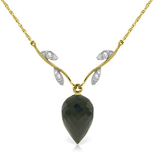 12.27 Carat 14K Solid Yellow Gold Necklace Diamond Briolette Black Spinel