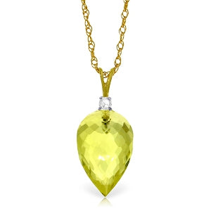 9.05 Carat 14K Solid Yellow Gold Optimism Lemon Quartz Necklace