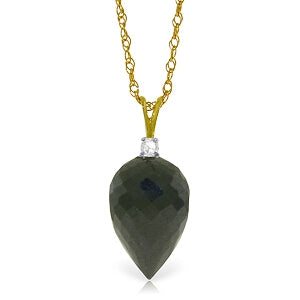 12.3 Carat 14K Solid Yellow Gold Bonheur Black Spinel Necklace