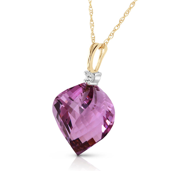 10.8 Carat 14K Solid Yellow Gold Suerte Amethyst Diamond Necklace