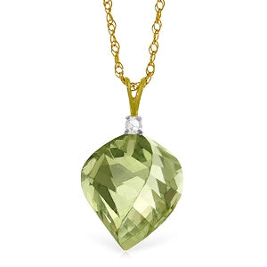 13.05 Carat 14K Solid Yellow Gold Intended For Pleasure Green Amethyst Necklace
