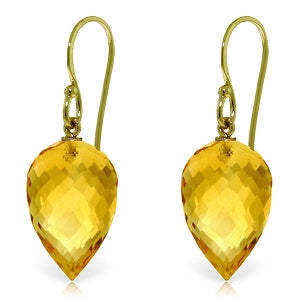 19 Carat 14K Solid Yellow Gold Fish Hook Earrings Natural Briolette Citrine