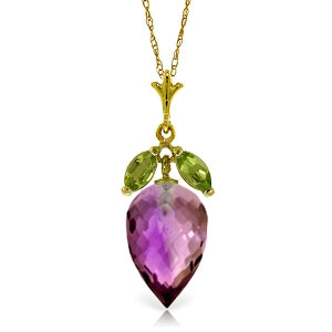 10 Carat 14K Solid Yellow Gold Necklace Peridot Pointy Briolette Amethyst
