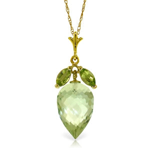 10 Carat 14K Solid Yellow Gold Necklace Peridot Briolette Green Amethyst
