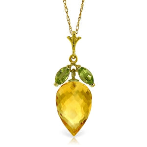 10 Carat 14K Solid Yellow Gold Necklace Peridot Pointy Briolette Citrine