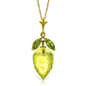 9.5 Carat 14K Solid Yellow Gold Necklace Peridot Briolette Lemon Quartz