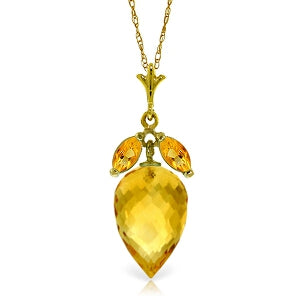 10 Carat 14K Solid Yellow Gold Necklace Marquis Pointy Briolette Citrine