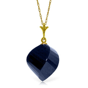 15.25 Carat 14K Solid Yellow Gold Necklace Twisted Briolette Sapphire