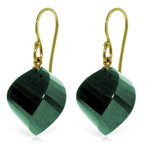 14K Solid Yellow Gold Fish Hook Natural Emerald Earrings