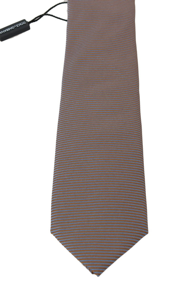 Dolce & Gabbana Gray Gold Silk Striped Pattern Tie