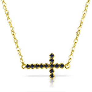 0.3 Carat 14K Solid Yellow Gold Horizontal Cross Sapphire Necklace
