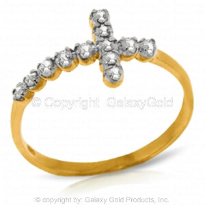 0.18 Carat 14K Solid Yellow Gold Cross Ring Natural Diamond