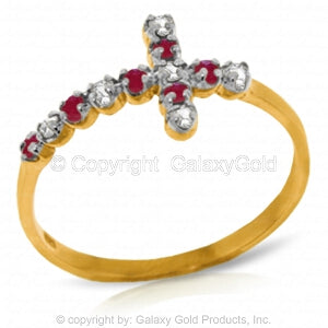 0.24 Carat 14K Solid Yellow Gold Cross Ring Diamond Ruby