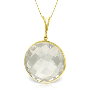 14K Solid Yellow Gold Checkerboard Cut Round White Topaz Necklace