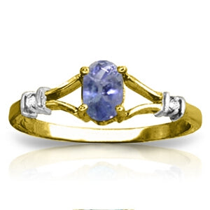14K Solid Yellow Gold Ring w/ Natural Diamonds & Tanzanite