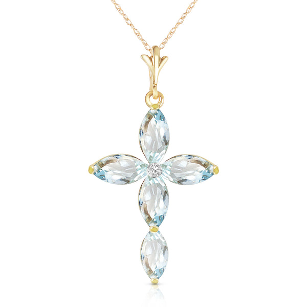 14K Solid Yellow Gold Necklace w/ Natural Diamond & Aquamarines