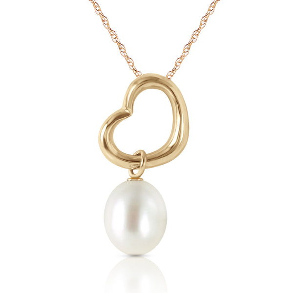 14K Gold Heart Necklace w/ Dangling Natural Pearl