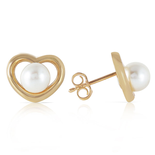 14K Solid Yellow Gold Heartstud Earrings w/ Natural Pearls
