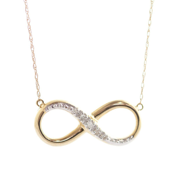 14K Solid Yellow Gold Infiniti Necklace w/ Natural Diamond