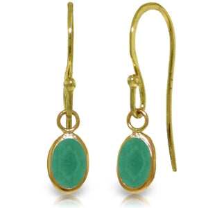 14K Solid Yellow Gold Fish Hook Emerald Earrings