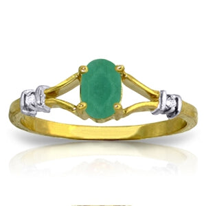 14K Solid Yellow Gold Diamond & Emerald Ring