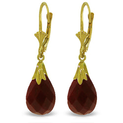 14K Solid Yellow Gold Leverback Earrings w/ Dyed Rubies
