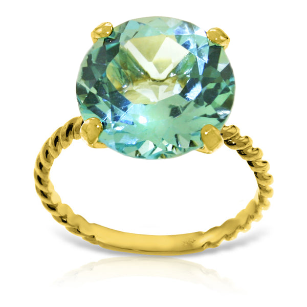 14K Solid Yellow Gold Natural 12.0 mm Round Blue Topaz Ring