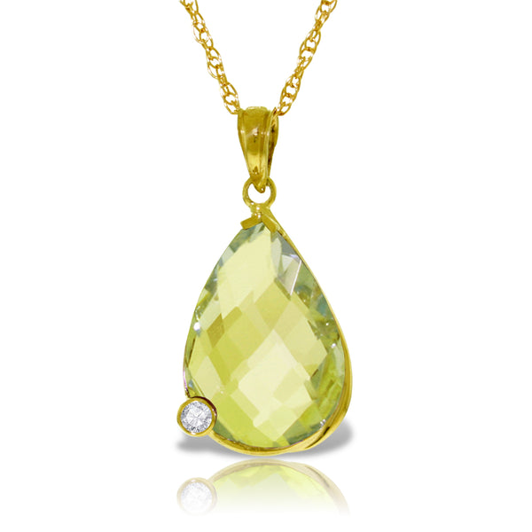 14K Solid Yellow Gold Necklace w/ Briolette Checkerboard Cut Lemon Quartz & Diamond
