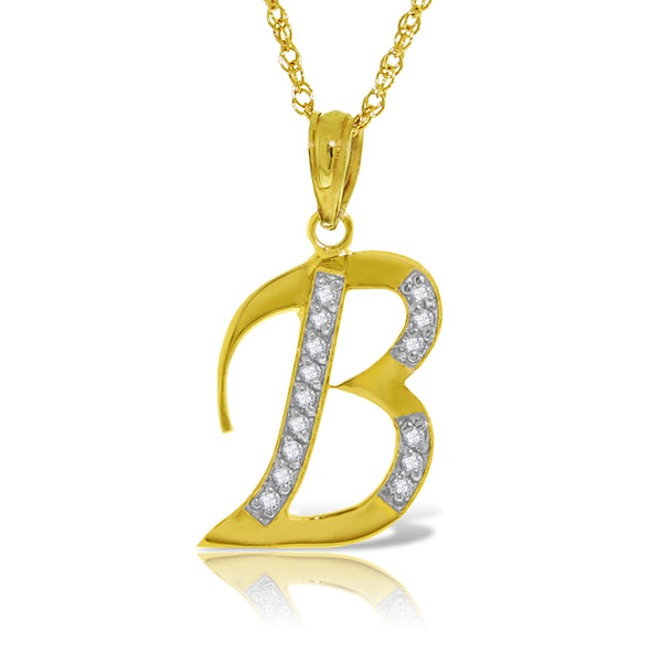 14K Solid Yellow Gold Necklace w/ Natural Diamonds Initial 'b' Pendant