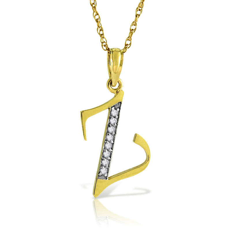 14K Solid Yellow Gold Necklace w/ Natural Diamonds Initial 'z' Pendant