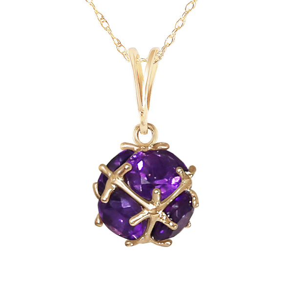 14K Gold Necklace w/ Natural Amethysts