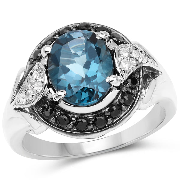 """4.27 Carat Genuine London Blue Topaz Black Spinel & White Topaz .925 Sterling Silver Ring"""