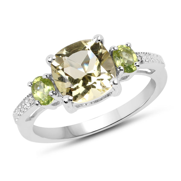 """2.15 Carat Genuine Lemon Quartz Peridot & White Topaz .925 Sterling Silver Ring"""
