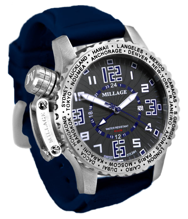 Millage MOSCOW Collection Watch BLK-BLU-BLU-SL