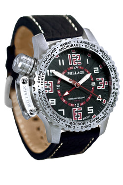 Millage MOSCOW Collection Watch BLK-RD-BLK-LB