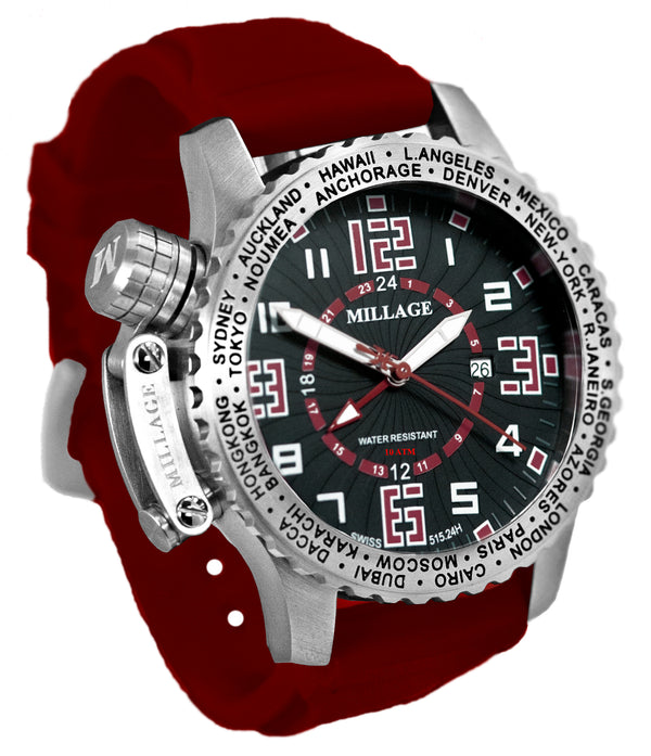 Millage MOSCOW Collection Watch BLK-RD-RD-SL