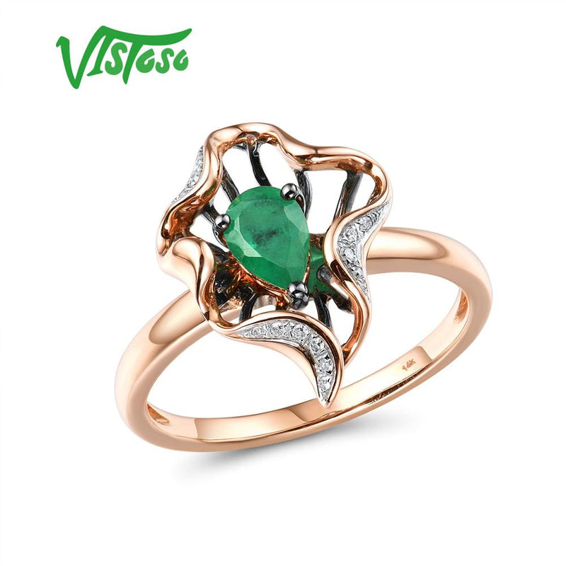 VISTOSO Gold Rings For Women Genuine 14K 585 Rose Gold Ring Magic Emerald Sparkling Diamond Engagement Anniversary Fine Jewelry