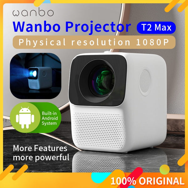 #Global Version# Wanbo T2 MAX LCD Projector LED Support 1080P Vertical keystone Correction Portable Mini Home Theater Projector
