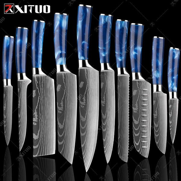 XITUO Kitchen Knife Set Japanese Chef Knives 7CR17 Stainless Steel Laser Damascus Pattern Meat Slicing Santoku Cleaver knives