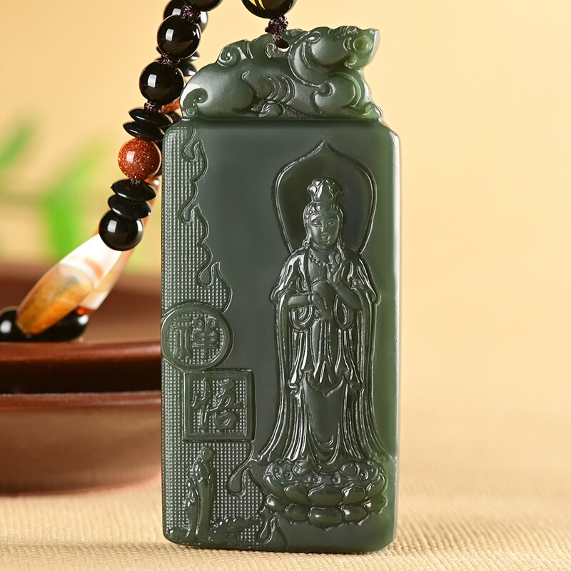 100% natural authentic hetian jade sapphire pendant jade gift guanyin jade pendant necklace brand men women real jade jewelry