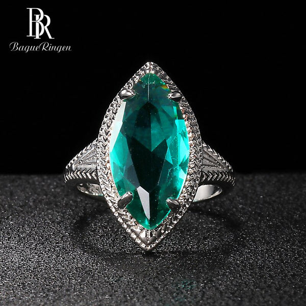 Bague Ringen Olive shape Silver 925 Jewelry Gemstones Ring for Women Emerald Green Delicate Individual Character Gift Wholesale
